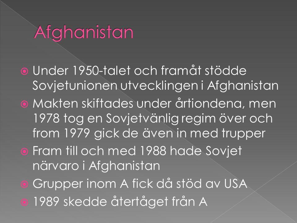 Afghanistan Under 1950-talet och framåt stödde Sovjetunionen utvecklingen i Afghanistan.