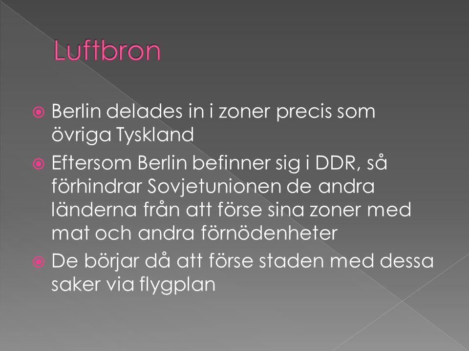 Luftbron Berlin delades in i zoner precis som övriga Tyskland