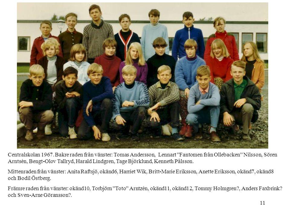 Centralskolan 1967. Bakre raden från vänster: Tomas Andersson, Lennart Fantomen från Ollebacken Nilsson, Sören Arntsén, Bengt-Olov Tallryd, Harald Lindgren, Tage Björklund, Kenneth Pålsson.
