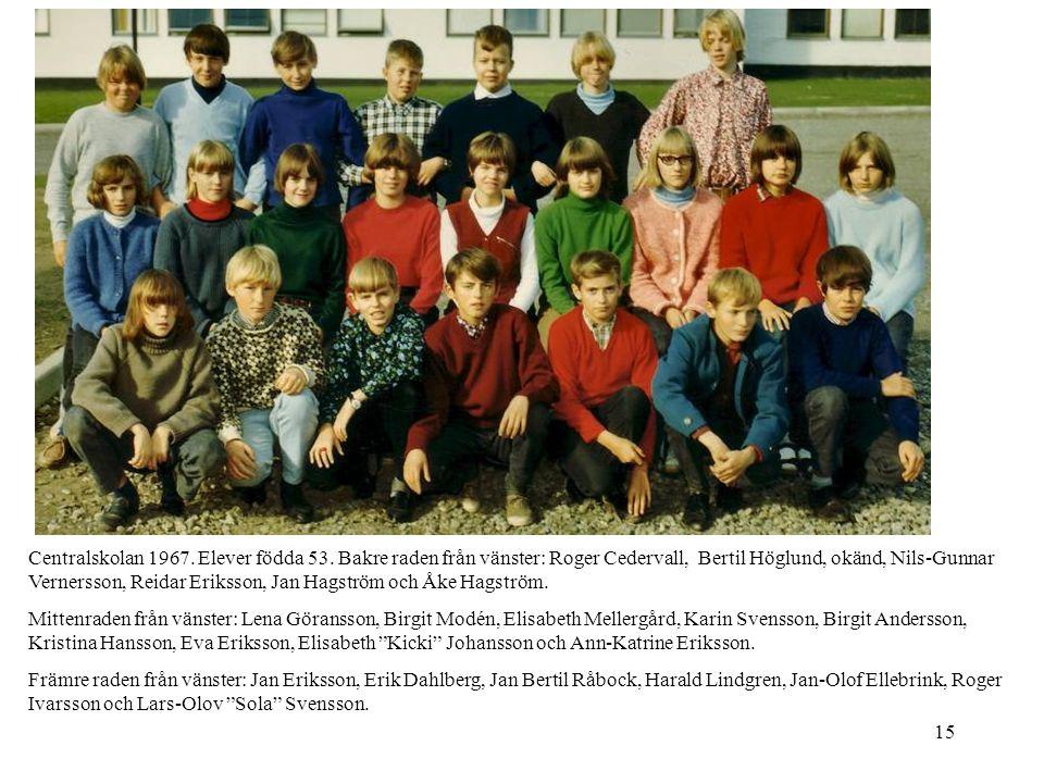 Centralskolan 1967. Elever födda 53
