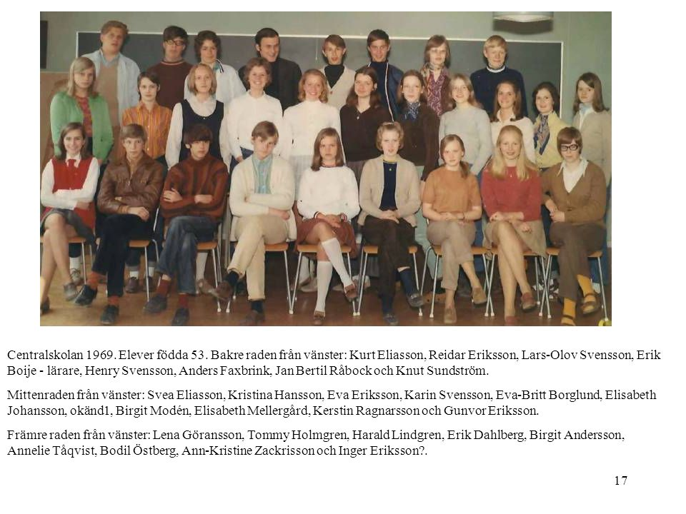 Centralskolan 1969. Elever födda 53