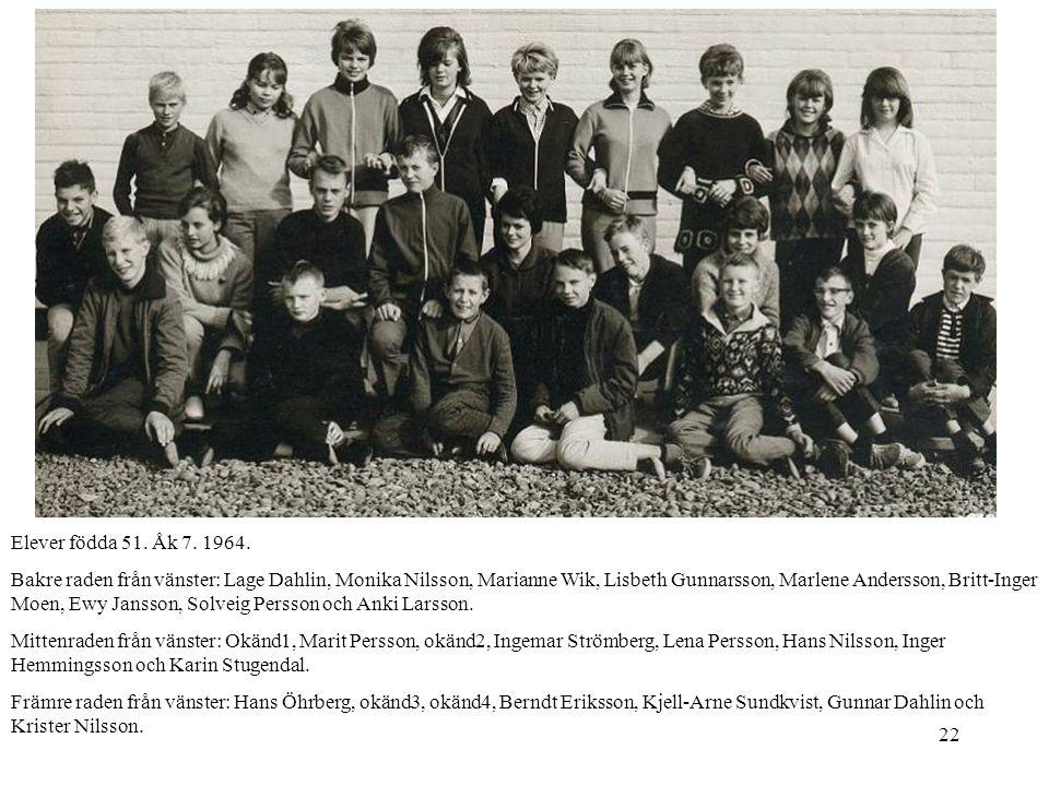 Elever födda 51. Åk 7. 1964.