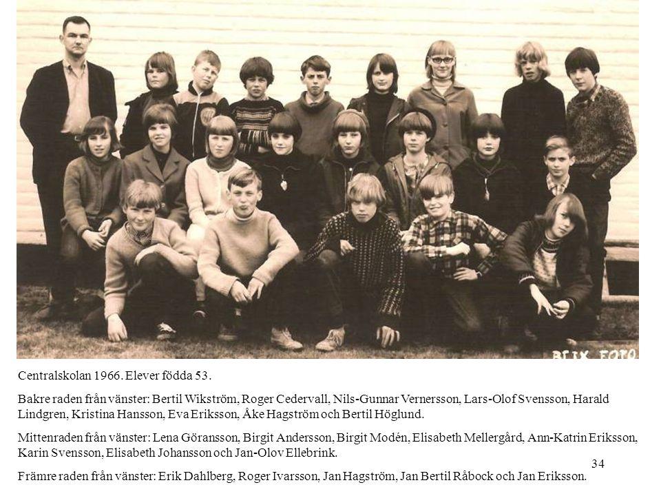 Centralskolan 1966. Elever födda 53.