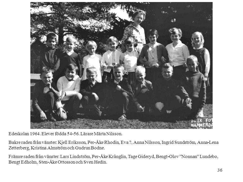 Edeskolan 1964. Elever födda 54-56. Lärare Märta Nilsson.