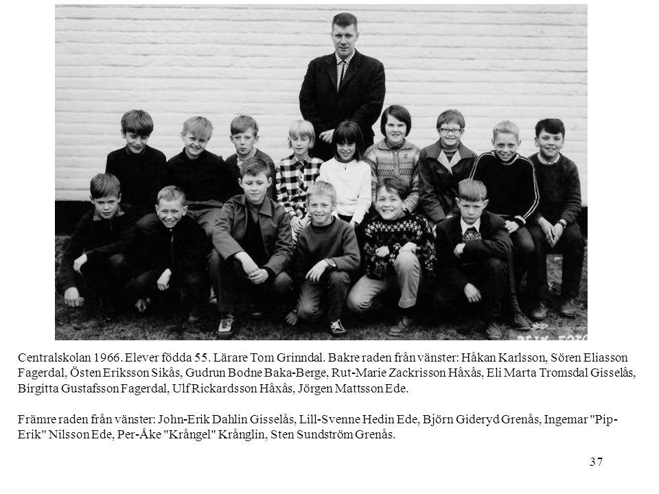 Centralskolan 1966. Elever födda 55. Lärare Tom Grinndal
