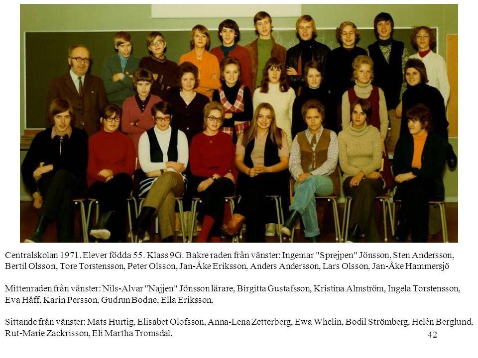 Centralskolan 1971. Elever födda 55. Klass 9G
