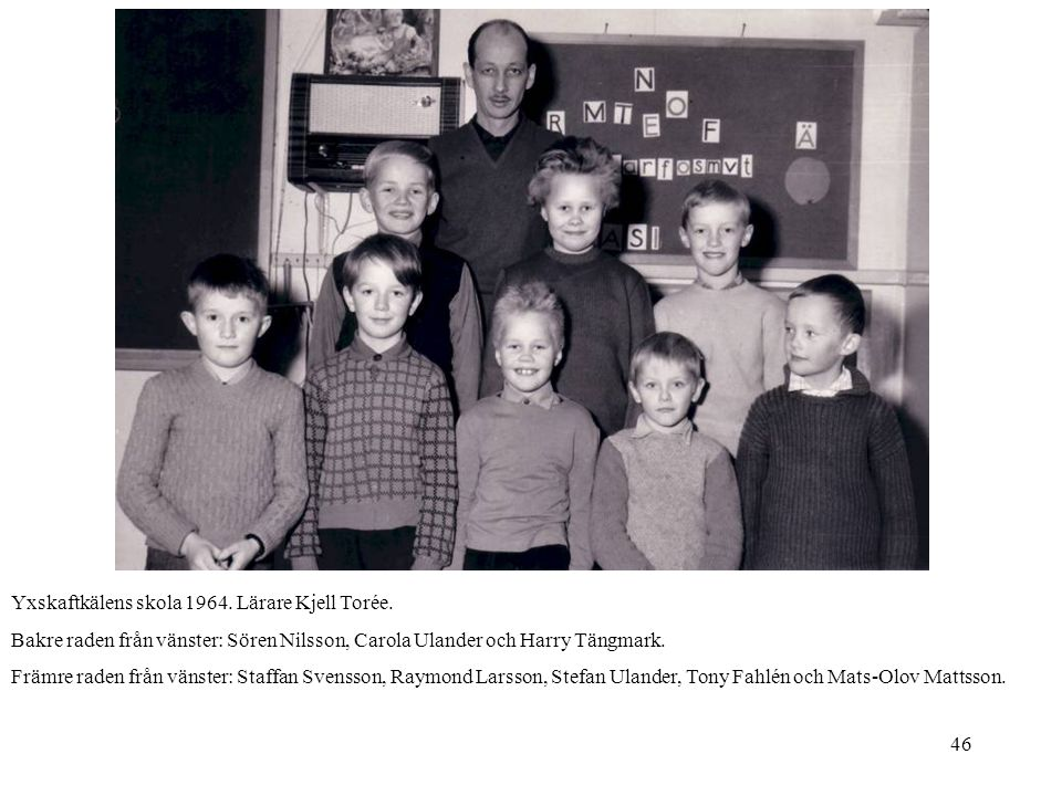 Yxskaftkälens skola 1964. Lärare Kjell Torée.