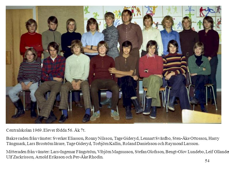 Centralskolan 1969. Elever födda 56. Åk 7t.