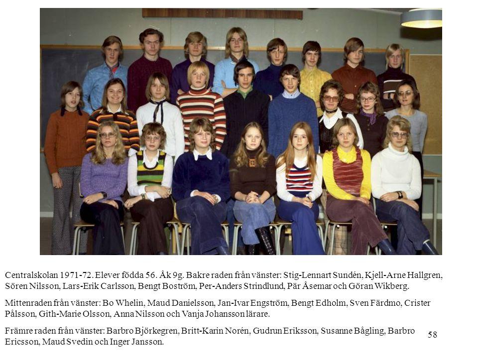 Centralskolan 1971-72. Elever födda 56. Åk 9g
