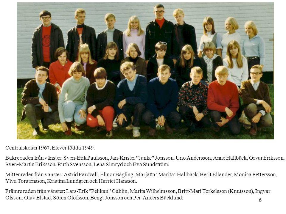 Centralskolan 1967. Elever födda 1949.