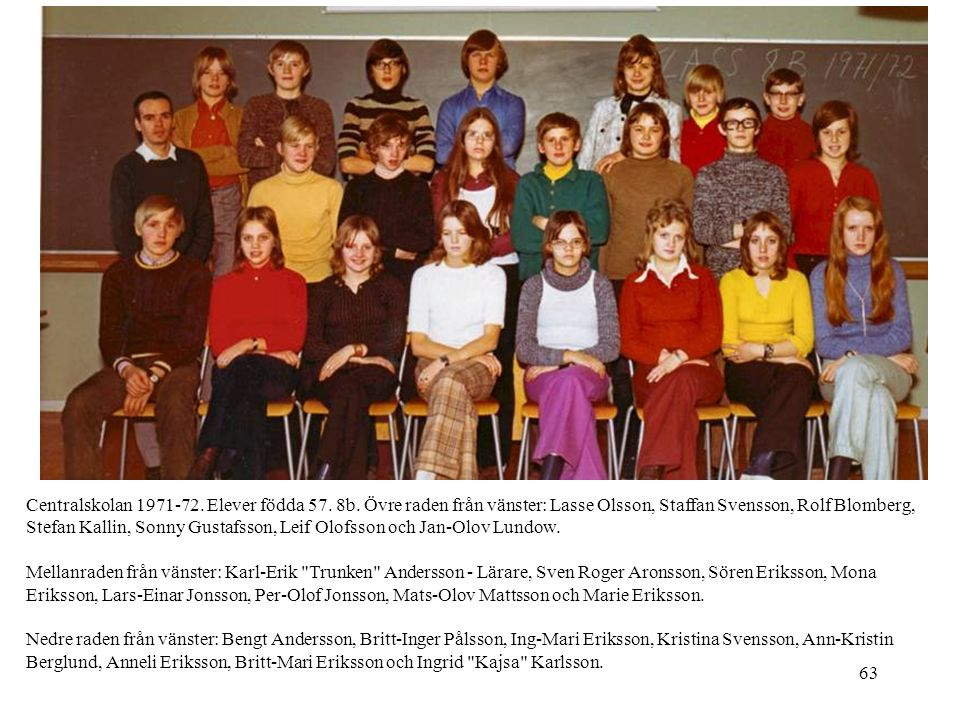 Centralskolan 1971-72. Elever födda 57. 8b