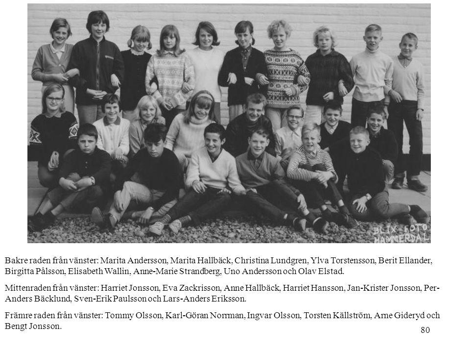 Bakre raden från vänster: Marita Andersson, Marita Hallbäck, Christina Lundgren, Ylva Torstensson, Berit Ellander, Birgitta Pålsson, Elisabeth Wallin, Anne-Marie Strandberg, Uno Andersson och Olav Elstad.