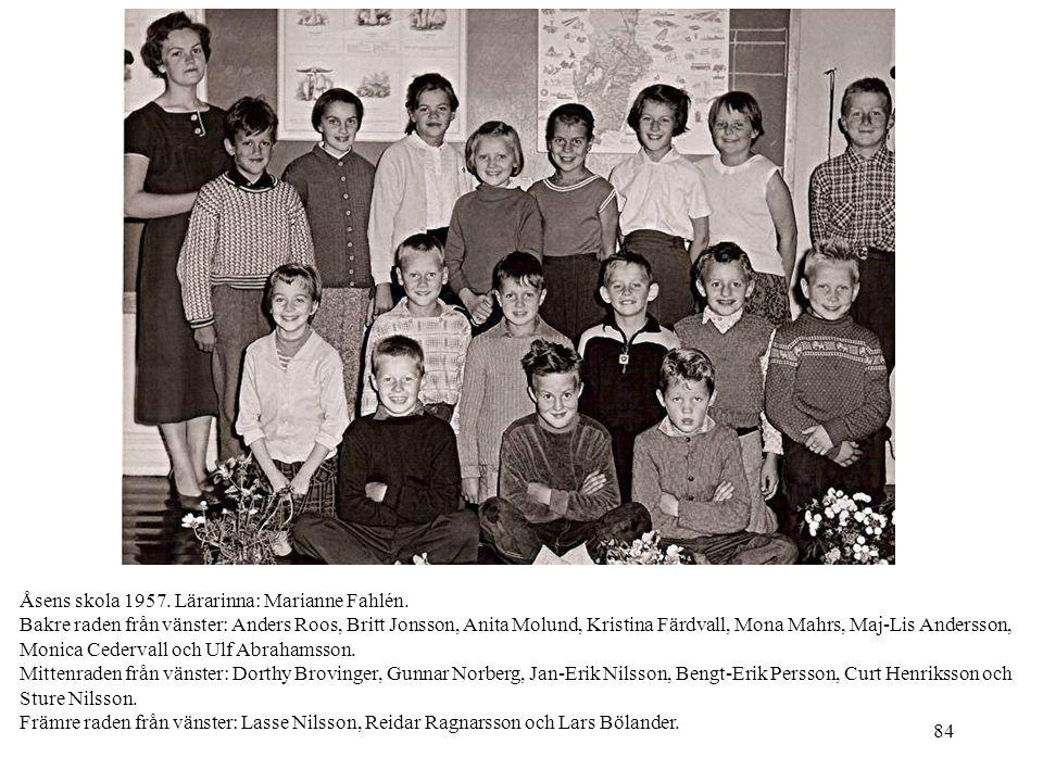 Åsens skola 1957. Lärarinna: Marianne Fahlén.