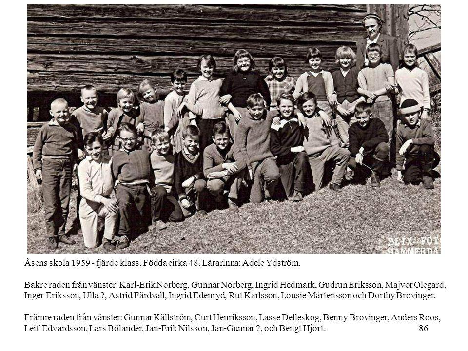 Åsens skola 1959 - fjärde klass. Födda cirka 48