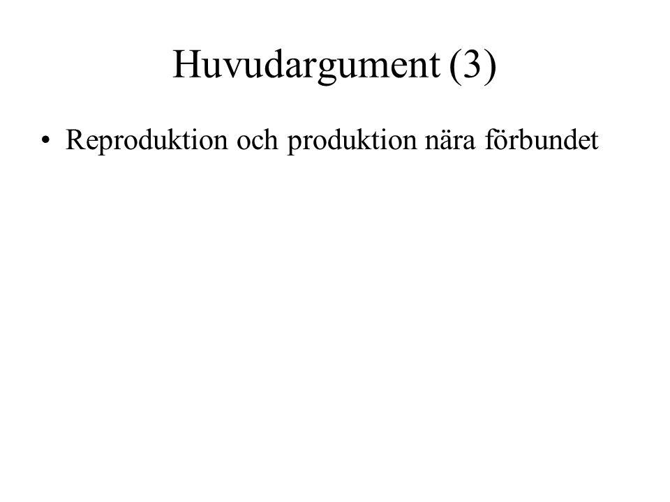 Huvudargument (3) Reproduktion och produktion nära förbundet