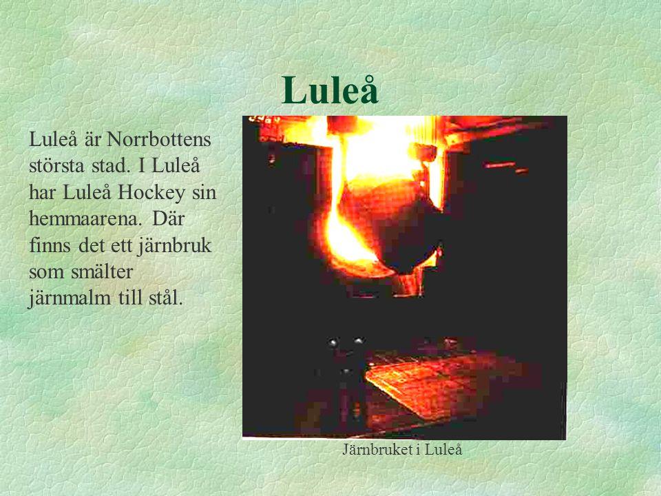 Luleå Luleå är Norrbottens största stad. I Luleå har Luleå Hockey sin hemmaarena. Där finns det ett järnbruk som smälter järnmalm till stål.