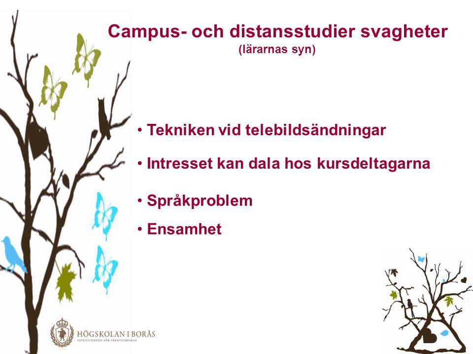 Campus- och distansstudier svagheter