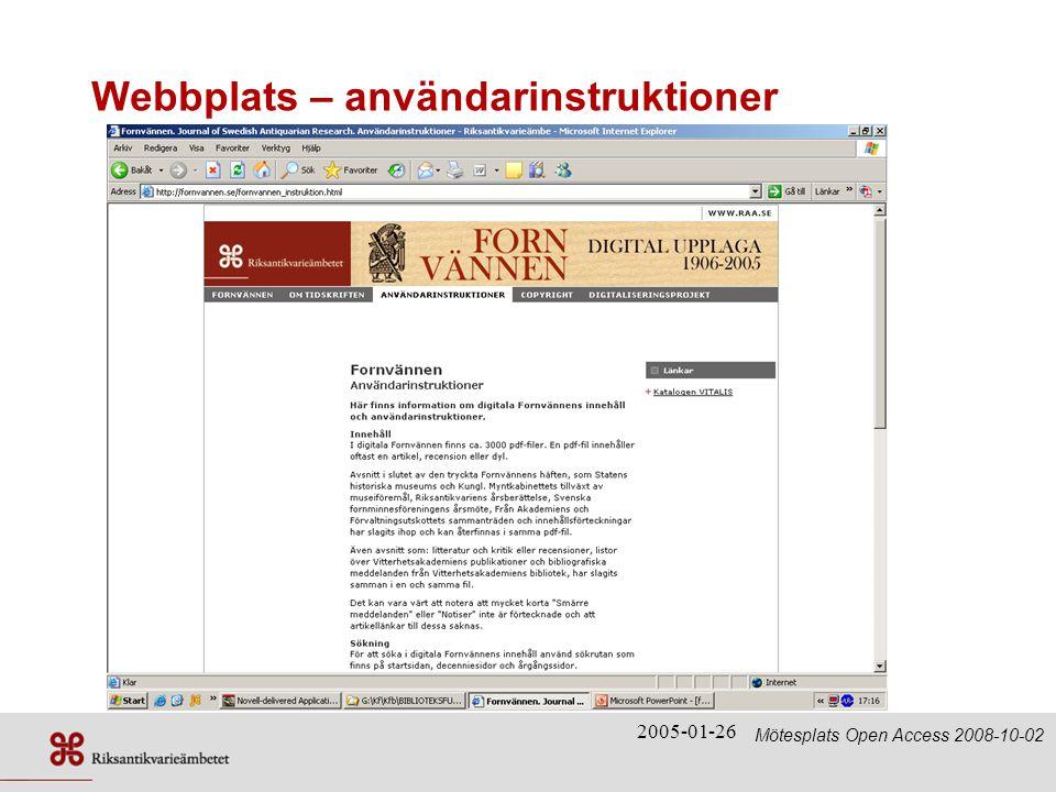 Webbplats – användarinstruktioner