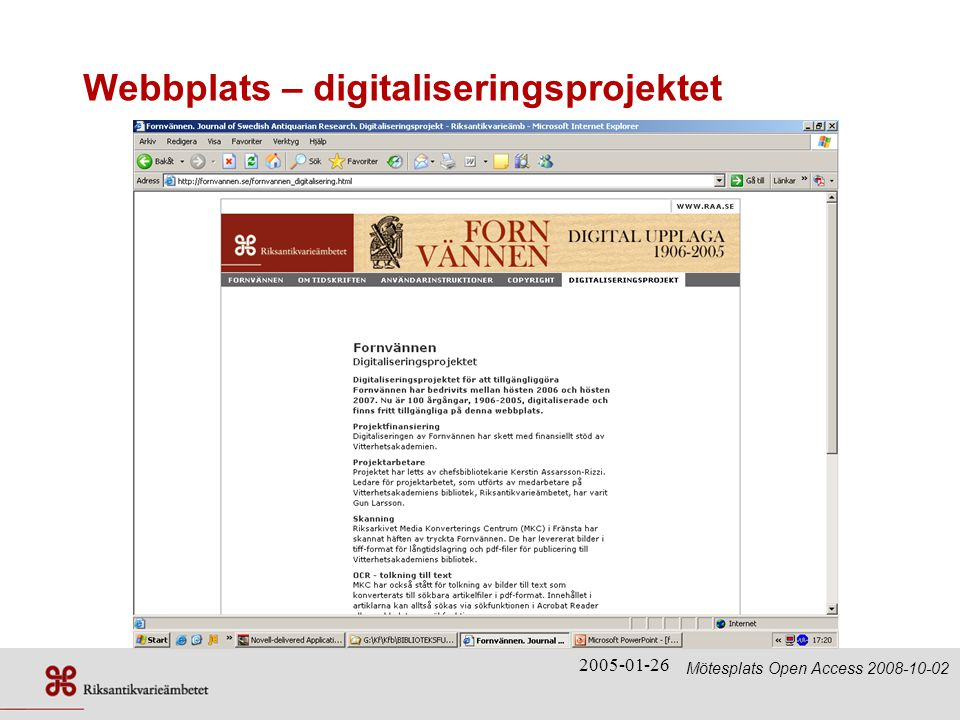Webbplats – digitaliseringsprojektet