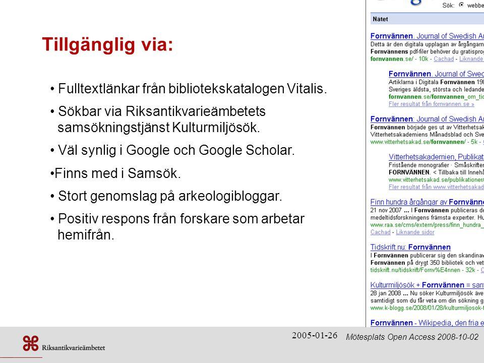 Tillgänglig via: Fulltextlänkar från bibliotekskatalogen Vitalis.