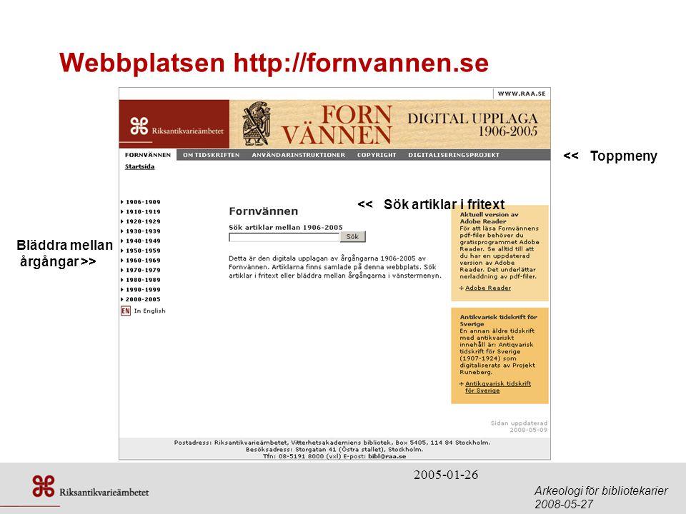 Webbplatsen http://fornvannen.se