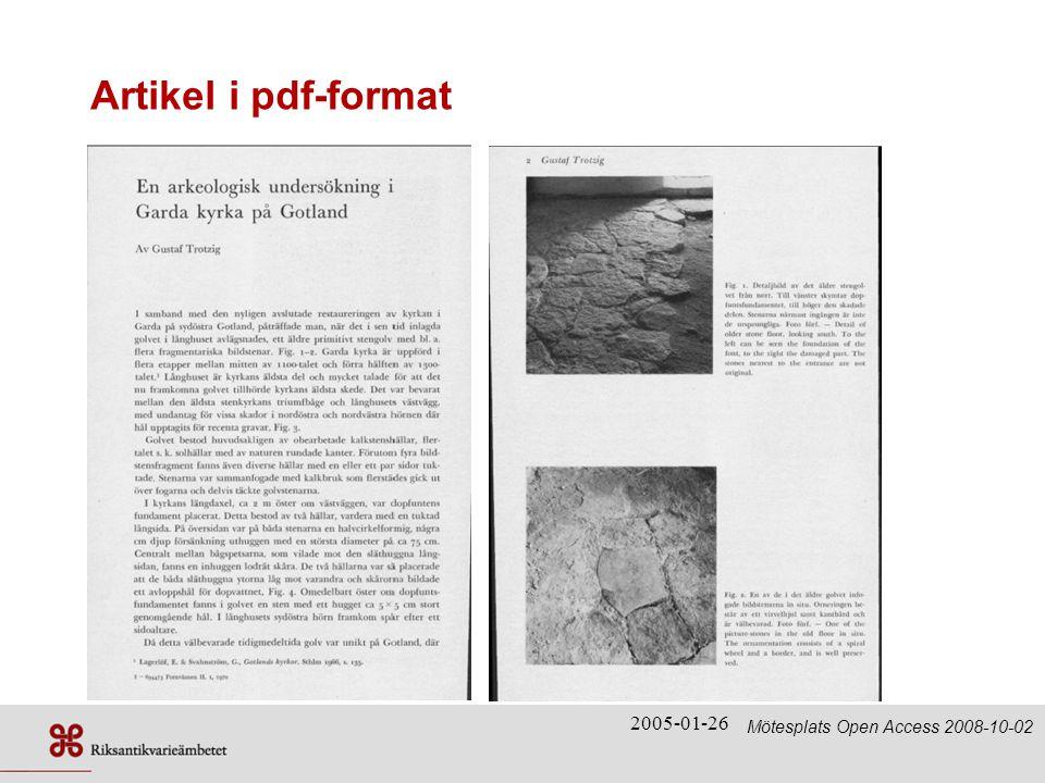 Artikel i pdf-format 2005-01-26 Mötesplats Open Access 2008-10-02