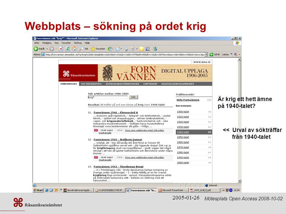 Webbplats – sökning på ordet krig