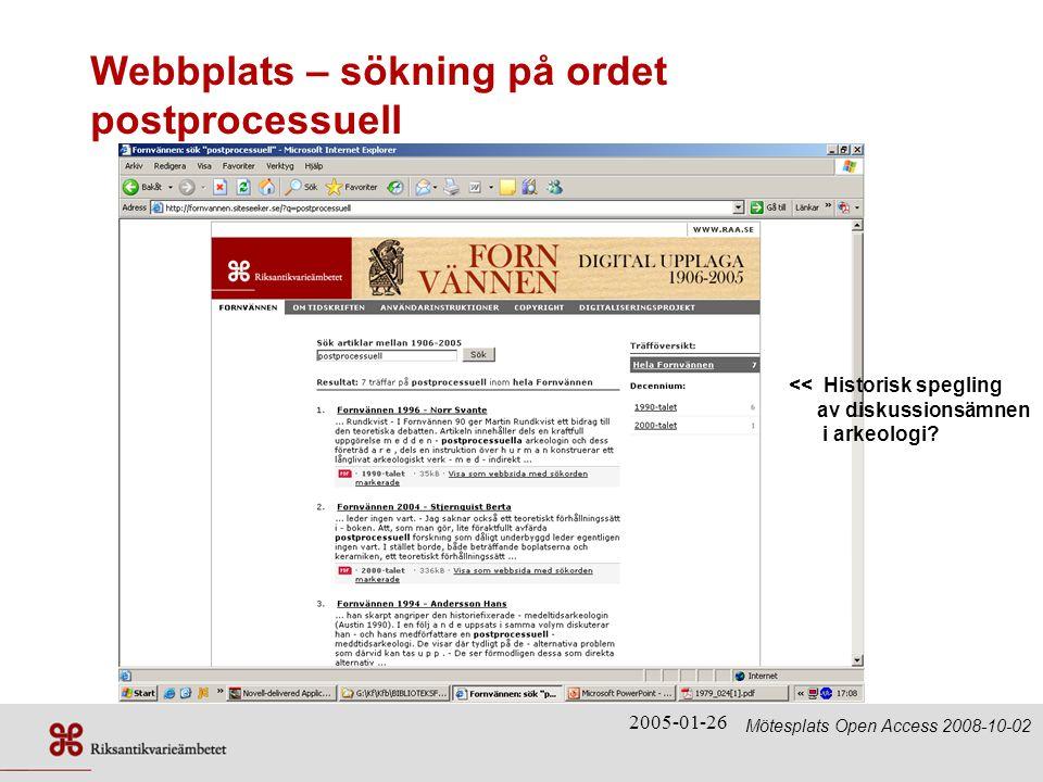 Webbplats – sökning på ordet postprocessuell