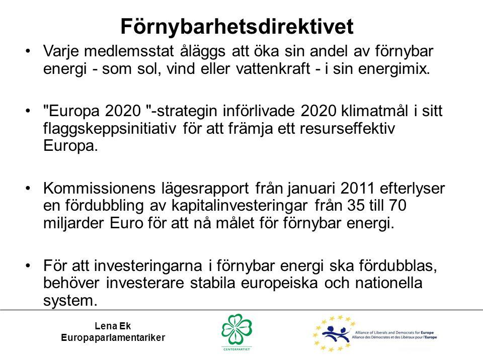 Förnybarhetsdirektivet Europaparlamentariker
