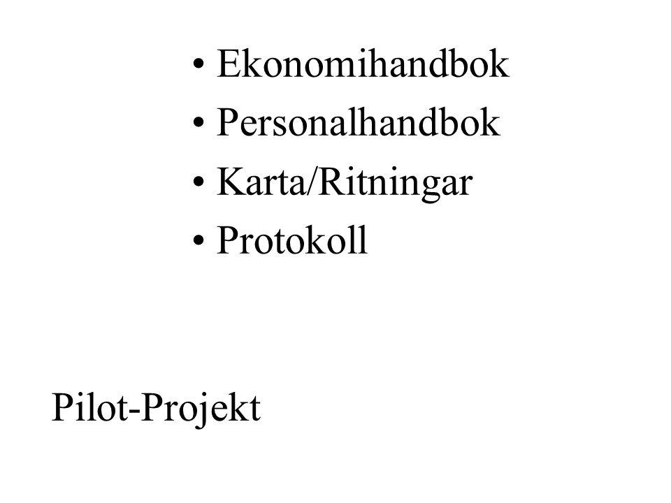 Ekonomihandbok Personalhandbok Karta/Ritningar Protokoll Pilot-Projekt