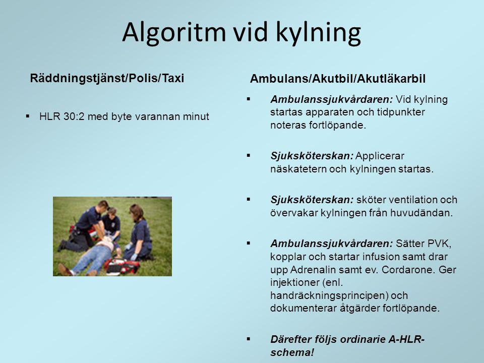 Algoritm vid kylning Räddningstjänst/Polis/Taxi
