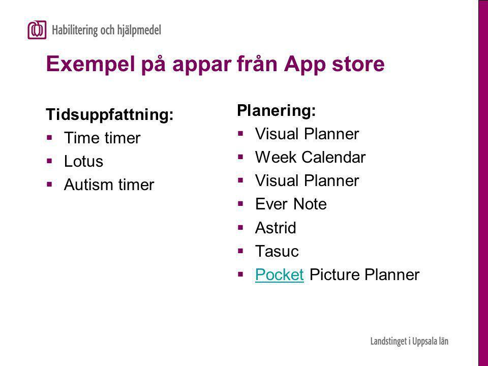 Exempel på appar från App store