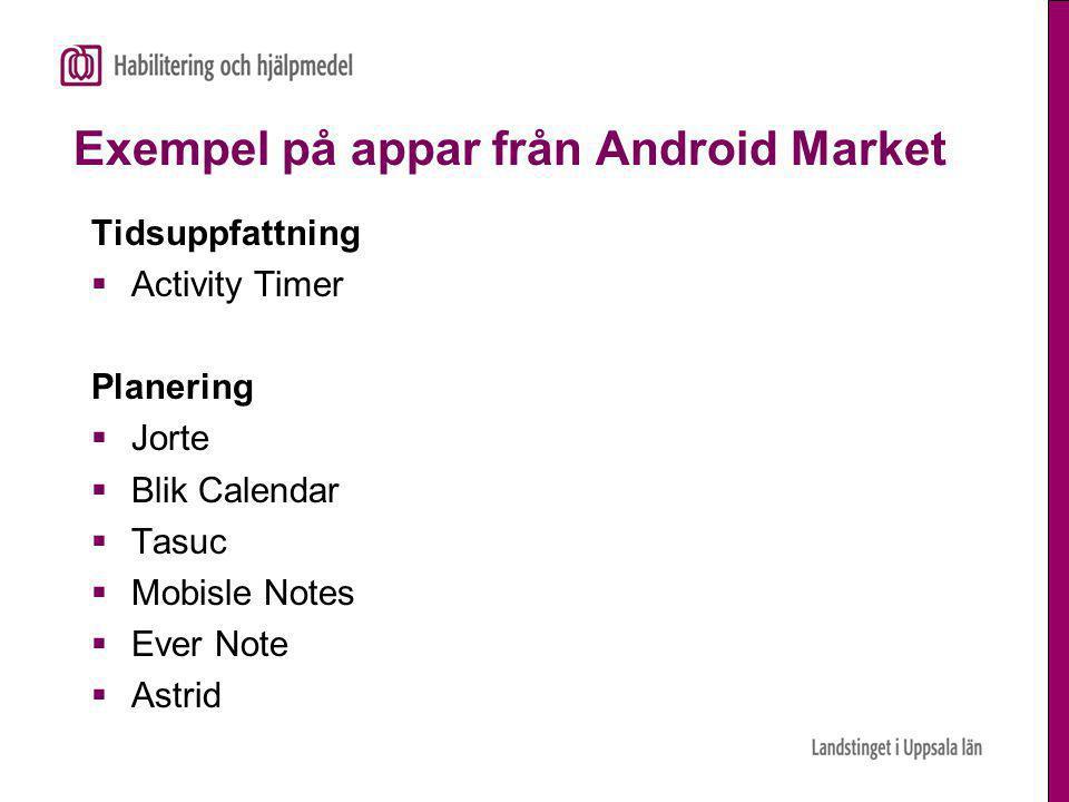 Exempel på appar från Android Market