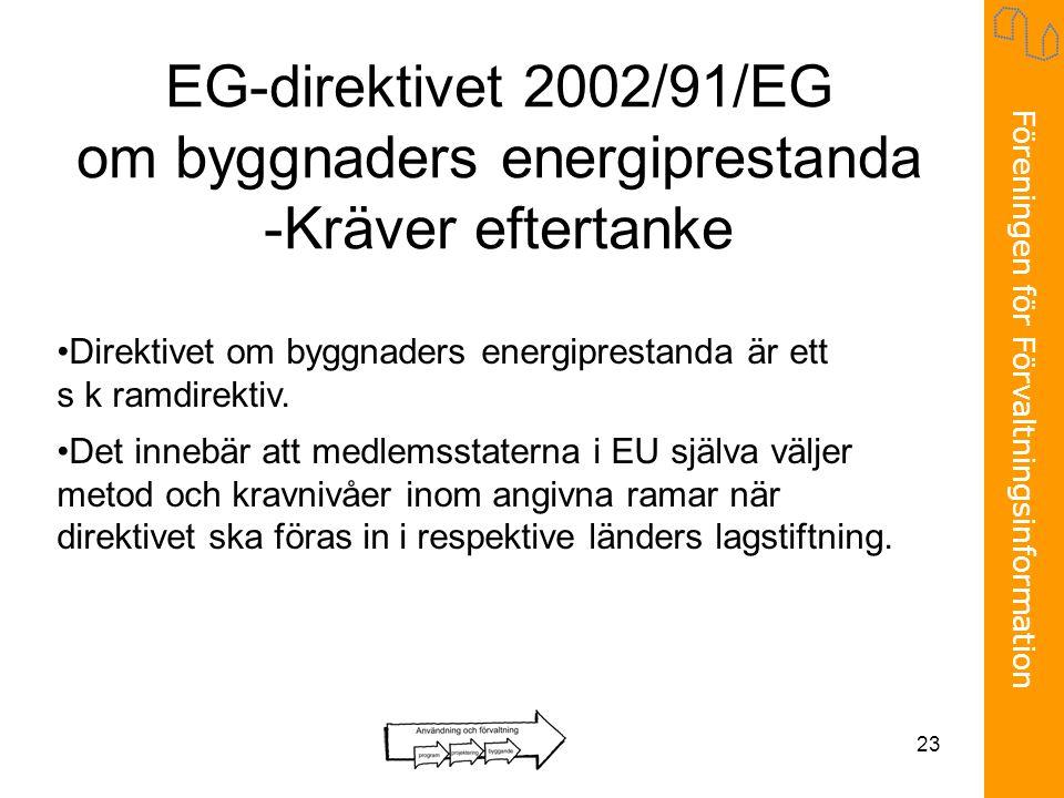 EG-direktivet 2002/91/EG om byggnaders energiprestanda -Kräver eftertanke