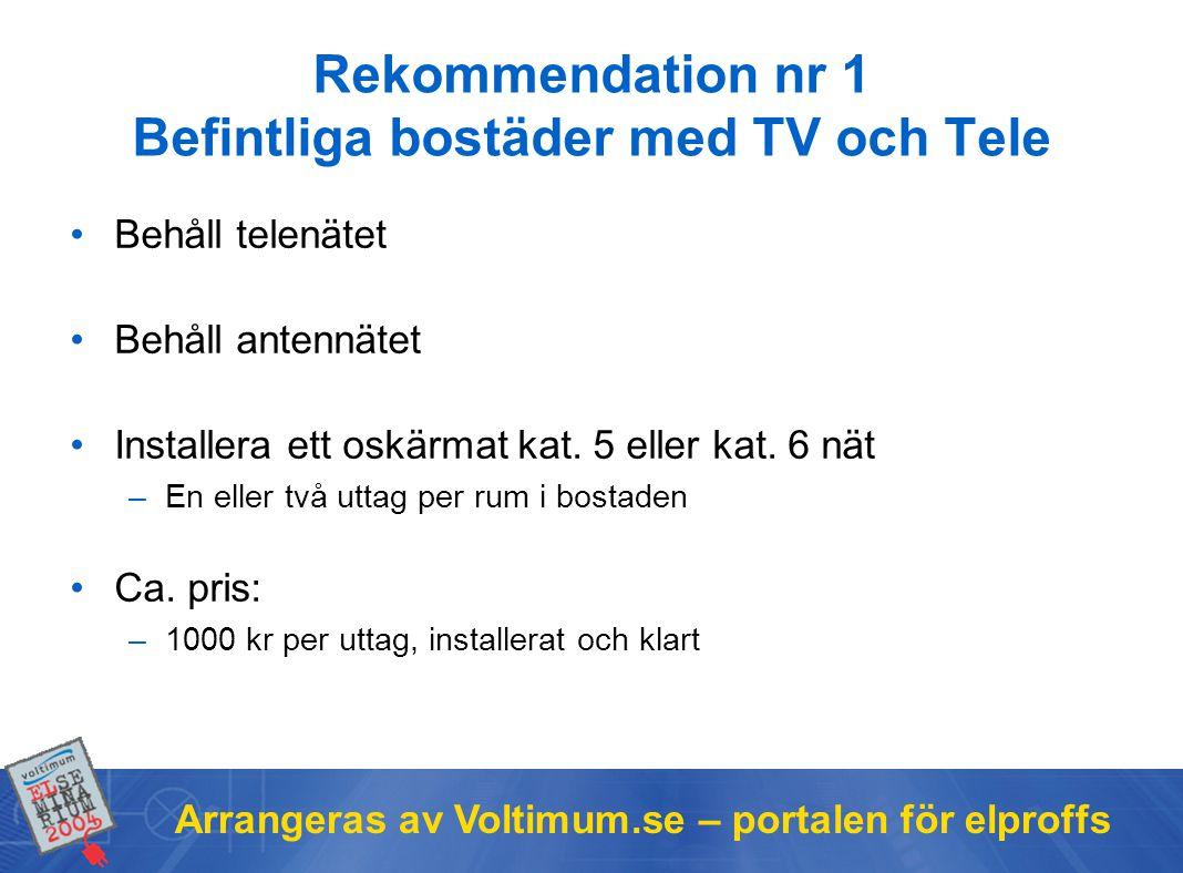 Rekommendation nr 1 Befintliga bostäder med TV och Tele