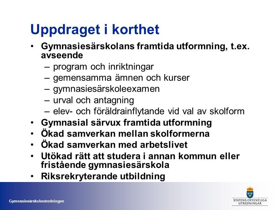 Uppdraget i korthet Gymnasiesärskolans framtida utformning, t.ex. avseende. program och inriktningar.