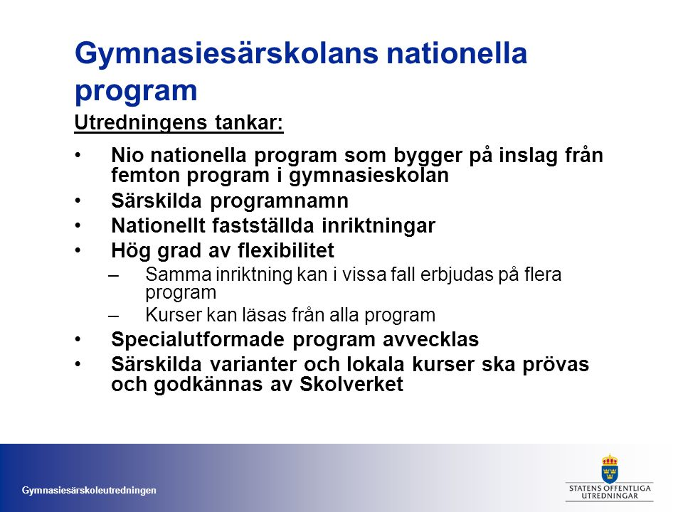 Gymnasiesärskolans nationella program