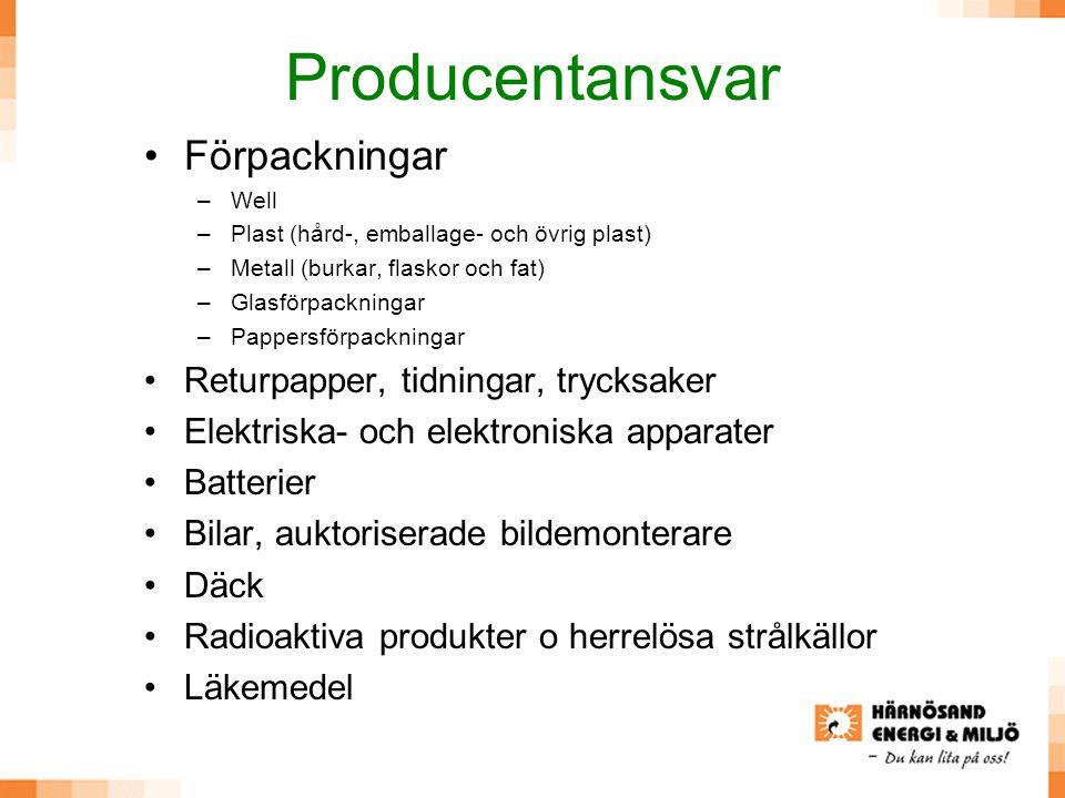 Producentansvar Förpackningar Returpapper, tidningar, trycksaker