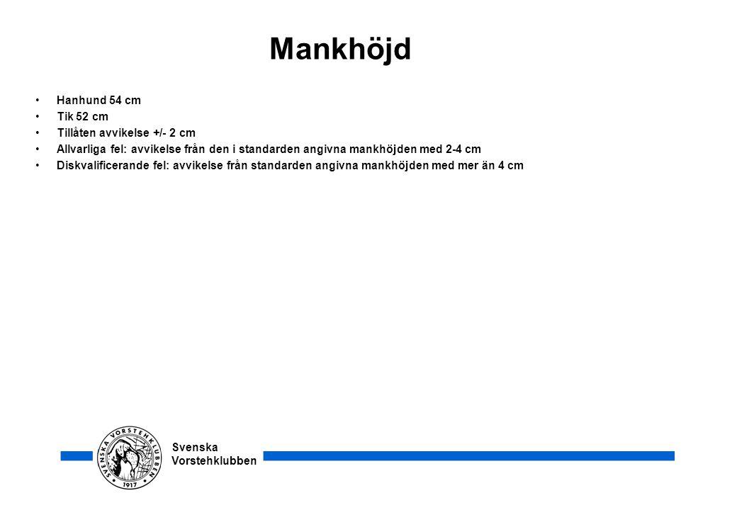 Mankhöjd Hanhund 54 cm Tik 52 cm Tillåten avvikelse +/- 2 cm