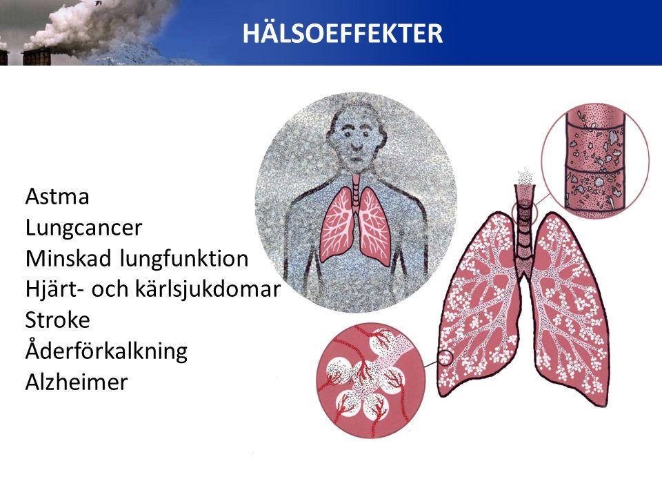 HÄLSOEFFEKTER Astma Lungcancer Minskad lungfunktion