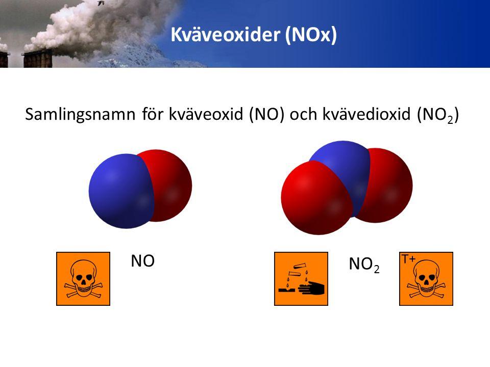 Kväveoxider (NOx) Samlingsnamn för kväveoxid (NO) och kvävedioxid (NO2) NO2 NO