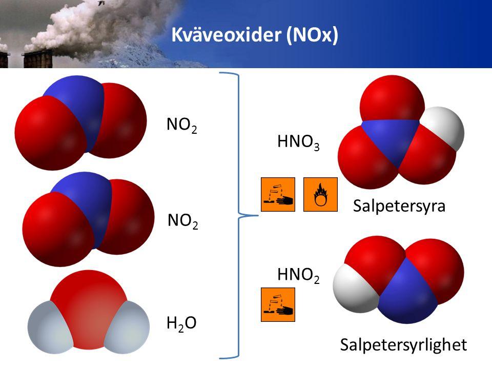 Kväveoxider (NOx) NO2 HNO3 Salpetersyra HNO2 Salpetersyrlighet NO2 H2O