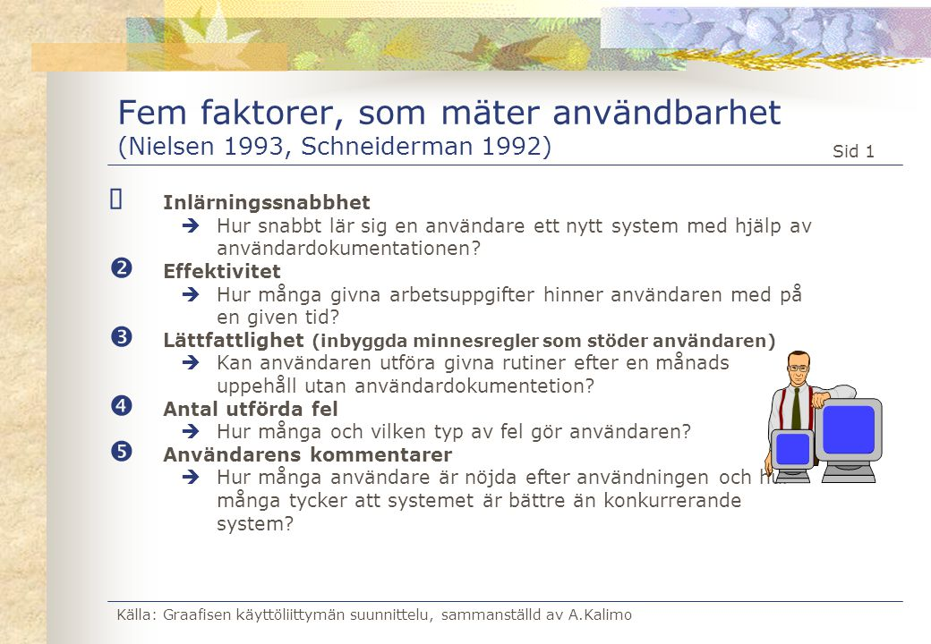 Fem faktorer, som mäter användbarhet (Nielsen 1993, Schneiderman 1992)