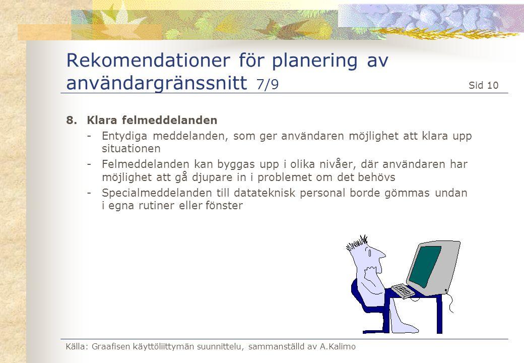 Rekomendationer för planering av användargränssnitt 7/9