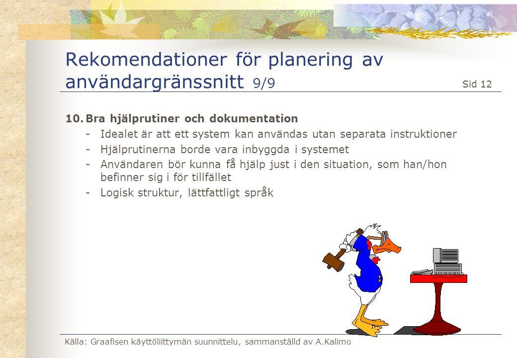 Rekomendationer för planering av användargränssnitt 9/9