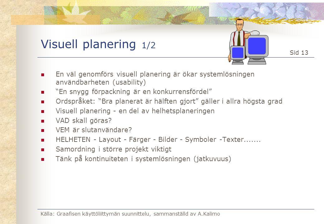 Visuell planering 1/2 En väl genomförs visuell planering är ökar systemlösningen användbarheten (usability)