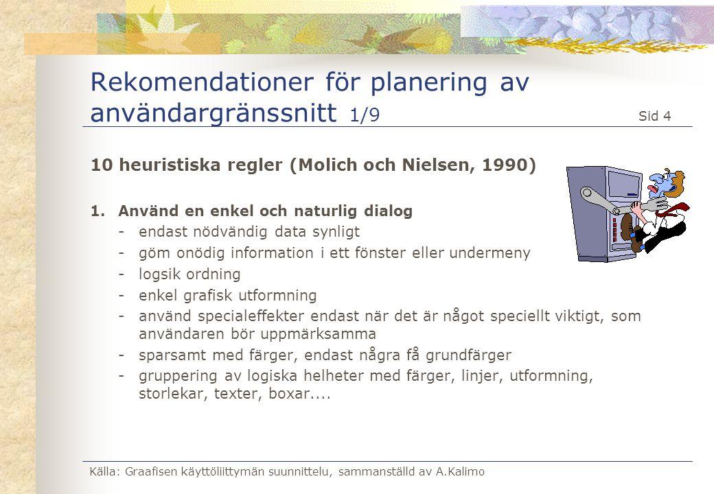 Rekomendationer för planering av användargränssnitt 1/9