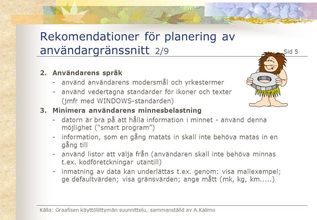 Rekomendationer för planering av användargränssnitt 2/9