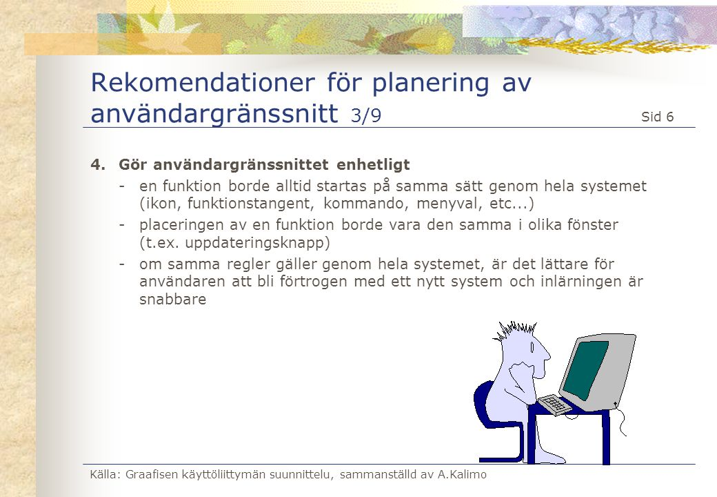 Rekomendationer för planering av användargränssnitt 3/9