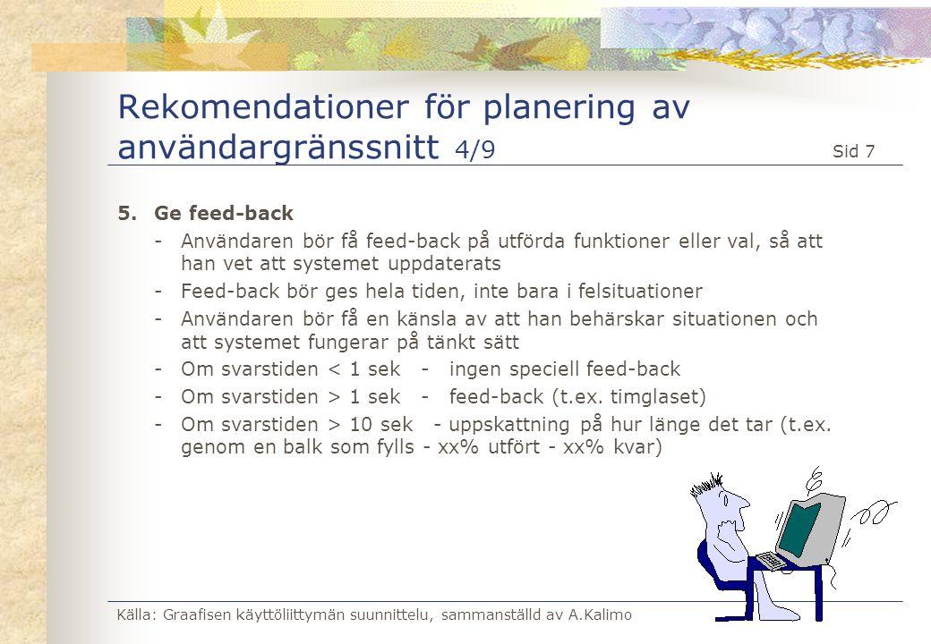 Rekomendationer för planering av användargränssnitt 4/9